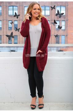 Sunday Love Hooded Knit in Cherry $35  Cuddle up to a mug full of hot chocolate and marshmallows in the Sunday Love Hooded Cardi it will keep you warm no matter the weather. This wool-blend cardigan comes with pockets to stash candy and a hoodie that will keep your pretty head warm. It has a slim fit but with plenty of give that will keep you nice and comfortable.