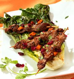 Recipes from The Nest - Cran-Ango Beef Yakitori with Grilled Romaine Halves