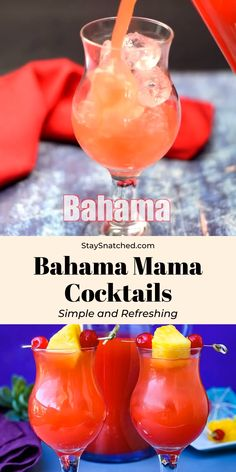 Easy Bahama Mama is the best drink cocktail recipe made with Bacardi, Malibu, or Captain Morgan coconut rum, pineapple and orange juice, and just a handful of ingredients. This beach cocktail is great Malibu Cocktails, Beach Cocktails, Cocktail Drinks, Alcoholic Drinks For The Beach, Best Drinks, Disney Alcoholic Drinks, Tropical Alcoholic Drinks, Easy Fruity Cocktails, Summer Rum Drinks