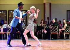 Jacqueline Baldwin dances with her partner Stephfond Brunson during the Dancing with our Stars fundraiser at the Oncenter Convention Center, Syracuse, N.Y., April 11, 2015. The event benefits the Barnes Hiscock Mansion through the George and Rebecca Barnes Foundation.