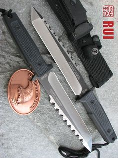 RUI Tactical Sawback Fixed Blade Stainless Sawback Tanto Combat Knife