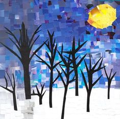 Painted paper Collage/Mosaic. Maybe with a more complex landscape to teach fore/middle/background. #LandscapeCollage