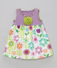 Take a look at this White & Lavender Floral Babydoll Top - Toddler & Girls by SILLY MILLY on @zulily today!