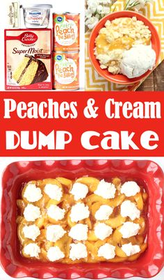 Dump Cake Recipes Peach Pie Filling Cobbler! This easy, dreamy treat will have you dreaming of dessert all day long! Just 4 ingredients and you're done! Go grab the recipe and give it a try this week! Dump Cakes, Dump Cake Recipes, Baking Recipes, Easy Summer Desserts, Easy Summer Meals, Winter Recipes, Summer Recipes, Chocolate Turtle Cakes, 4 Ingredient Desserts