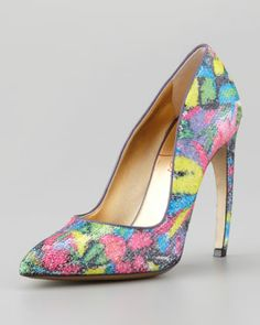 Walter Steiger Sequin Pump With Bowed Heel - Neiman Marcus  Soooo in love with the bright colors, fun sequins, and festive feel!
