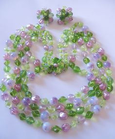 Vintage West German Art Glass Green and Lavender Bead Demi Parure-Necklace/Earrings Offered by VINTAGE JEWELRY LOUNGE a Ruby Lane Shop