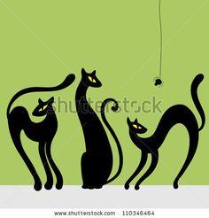 Set of black cat silhouettes. Vector illustration - stock vector
