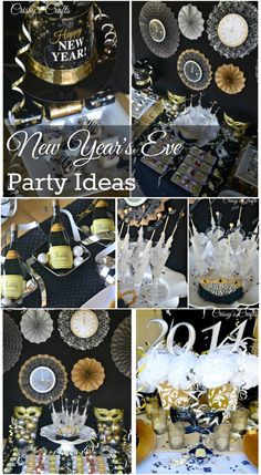 Learn how to make easy New Years Eve Party Decorations - Great Gatsby Theme. You can buy all the supplies you need at your local dollar store including gold spray paint, vases, pearl necklaces, gold glitter etc New Years Eve Day, Happy New Years Eve, New Years Party, New Year's Eve Celebrations, New Year Celebration, Nye Party, Party Time, Holiday Parties, Holiday Fun