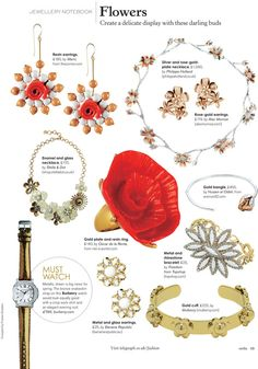 Stella Magazine feature 14. April 2013  Rose-gold plated Flower Earrings available at Liberty London