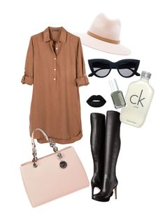 """Brown Lustre"" by fifioriginals on Polyvore featuring rag & bone, United by Blue, MICHAEL Michael Kors, Lime Crime, Sam Edelman, Calvin Klein and Essie"