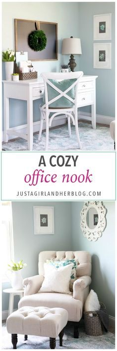 home- cozy office nook, feminine home office, organized home office, small office, decorating, farmhouse office/compact home office ideas