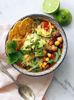 A bright and wholesome Mexican soup with handfuls of herbs, avocado and chilli. The broth is light and nourishing. I'm obsessed with this dish at the moment – it'sjust so simple to throw together. Leave vegetarian or add some shredded chicken or grilled prawns.