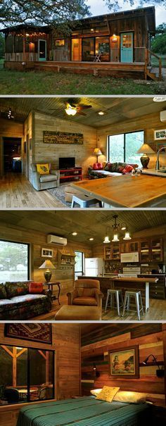 Built by Reclaimed Space from salvaged materials at their facility in Austin, TX; 640sf with one bdrm/one bath, plus a nice deck & screened porch . #cottage #cabin #tiny_home