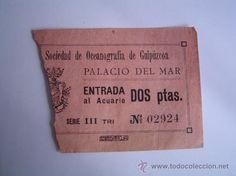 Entrada Sociedad Oceanografica de Guipúzcoa,años 40.