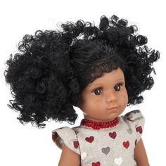 Mixed Race/Biracial/Light Brown Doll with Black Curly Hair and Freckles Black Curly Hair, White Hair, White Underwear, Mixed Race, Heart Print, White Shoes, Freckles, Curls, Curly Hair Styles