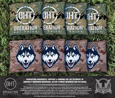 Cornhole All Weather Bag Set - Operation Hat Trick University of Connecticut UCONN Huskies