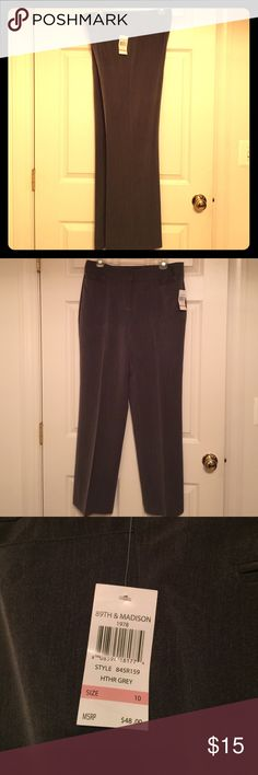 """💞 BNWT 89TH & Madison Size 10 Grey Trousers 💞 NWT never worn 89TH & Madison Grey Trousers offer two buttons w/ zipper closure, front pockets, two faux pockets on the back and has a 32"""" inseam.  These machine washable trousers are 80% Polyester, 16% Rayon, 4% Spandex. 89th & Madison Pants Trousers"""