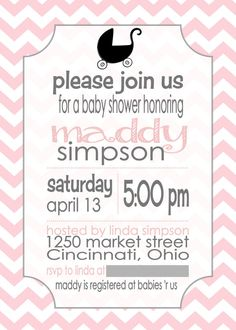 Chevron Baby Shower Invitation by MaryBobbinsBoutique on Etsy, $8.00