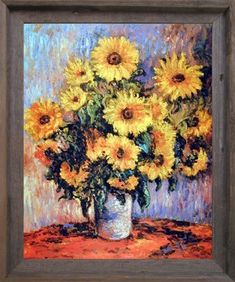 Bring warmth into your home by using sunflower home décor. Sunflower home decorations are beautiful  representations of floral home décor.  Best used spring, summer and fall sunflower decorative accents make any  space look lovely. Especially great for  decorating kitchens, living rooms and bathrooms with. #sunflower #floral #floraldecor      Claude Monet Sunflowers Flower Wall Decor Barnwood Framed