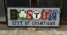 Boston – City of Champions Sign – vintage Patriots, Red Sox, Celtics, Bruins decor – From Parts Unknown Sports Man Cave, Sports Art, Boston Sports, Boston Red Sox, Vintage Sports Decor, Patriotic Bedroom, Patriots Sign, Sports Signs, Boston Strong