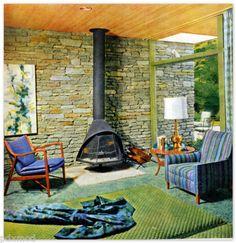 Cool 1960s living room/family room design