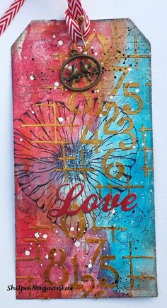 Mixed Media Tag with Magenta  http://frame.bloglovin.com/?post=6113410191&blog=11132057&frame_type=none