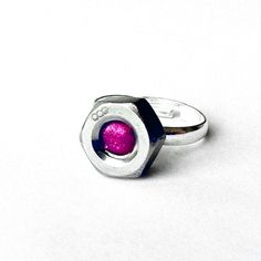 Hot Pink and Silver Stainless Steel Nut Ring from Loralyn Designs