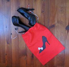 Siyah Topuklu Ayakkabı Aplikeli, Kırmızı Ayakkabı- Terlik Çantası