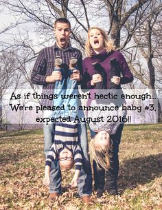 Pregnancy announcement. Baby number three. Announcing baby #3.