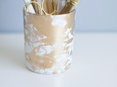 DIY Gold Marbled Pencil Cup | Lovely Indeed