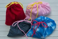 Pouches made from old t-shirts.