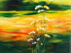 Картины цветов ручной работы. Ярмарка Мастеров - ручная работа. Купить Картина из шерсти Закат на лугу. Handmade. Картина