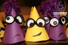 Party hats ! #EvilMinions #Minions For more ideas, check us on our Facebook page: www.facebook.com/PurpleHeelsEvents