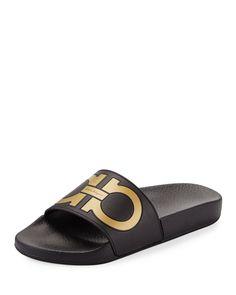 814c200d452e Salvatore Ferragamo Groove Gancini Flat Slide Sandal
