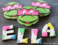 Ninja Turtle cookies with a girly twist. Cookies by Yankee Girl Yummies.