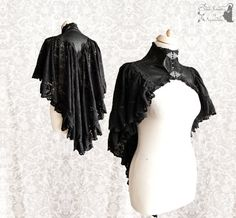 ➸ This dark romantic capelet is made of a soft faux leather base, with heavily plated on black polyamid lace. Its inspired by late Victorian fashion and gothic novels, adjusted to own design. Its decorated with silver tone metal clasps and lots of lace trim. ➸ Youll receive the very item in the pictures. All items of Somnia Romantica are OOAK or made in small quantities. All items are premade and ready to ship. I ship out in 1-3 days after purchase, priority & with tracking, from The…