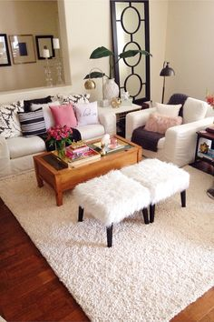 I love to have fun with throw pillows. It's easy with all the great textures now. All these faux furry pieces are from HomeGoods. They have a great assortment of textures and colors available. Have fun with it! Sponsored by HomeGoods