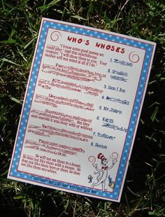 Dr. Seuss shower game, identify the character from quotes/description