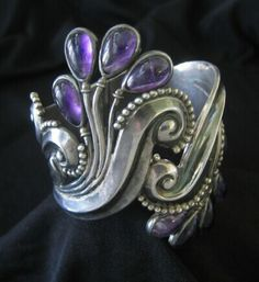 Clamper Bracelet | Margot de Taxco.  Sterling silver and amethyst frond.  circa-1950s