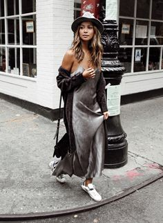 An Amazing Women Style With Sleek Gray Slip Dress, Knit Cardigan And Cute Sneakers For Schcool Fall Outfit To Little Funny Look Slip Dress Outfit, Long Slip Dress, Slip Dresses, Black Slip Dress, Maxi Dresses, Dress Outfits, Love Fashion, Autumn Fashion, Style Fashion