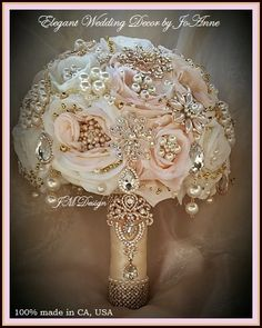 PINK AND GOLD Brooch Bouquet Deposit for by Elegantweddingdecor