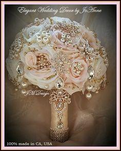 ROSE GOLD Brooch Bouquet Pink and Gold by Elegantweddingdecor