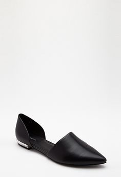 Pointed Faux Leather Flats | FOREVER21 - 2000135003