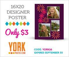 $3 Custom 16x20 Designer Poster + 40 FREE Photo Prints  {Expires 9/30/12}