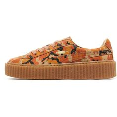 PUMA Fenty Creeper Camo Women's ($130) ❤ liked on Polyvore featuring shoes, camouflage footwear, patent leather shoes, puma shoes, creeper shoes and orange patent shoes