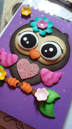 Buho Owl Crafts, Diy And Crafts, Crafts For Kids, Arts And Crafts, Paper Crafts, Merian, Felt Baby, Decorate Notebook, Paper Piecing