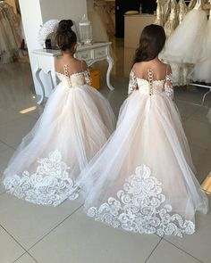 This would be so cute for the flower girl! But, id ask to customize the dress so the tulle skirt can come off to reveal a shorter skirt or romper so they can run around and not get dirty or hurt Dream Wedding Dresses, Wedding Gowns, Wedding Groom, Wedding Bells, White Flower Girl Dresses, Girls Dresses, Lace Flower Girl Dresses, Dress Lace, Baby Pageant Dresses