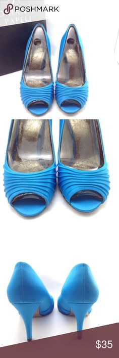 """Adrianna Papell spring blue classic satin heels This is the Farrel style Adrianna Papell shoe. The bottom is as pretty as the top! Look at the glitter under the heel! Wrapped 3"""" heel, satin uppers, leather lining. Adrianna Papell Shoes Heels"""
