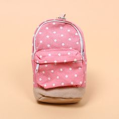 1 PCS Kawaii Mini Colorful Dot Pattern School Bag Students Children Canvas Pen Bag Pencil Case