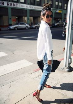 {White shirt and light denim.}